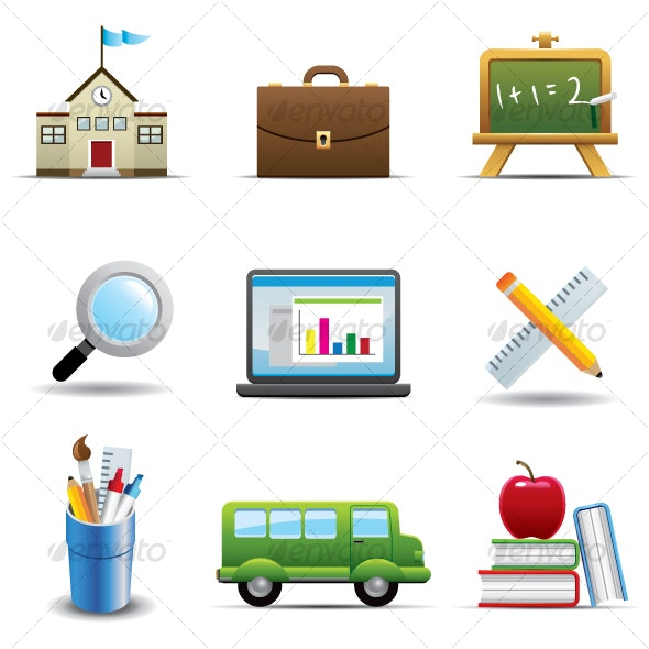 Education Icon Set - Decorative Symbols Decorative