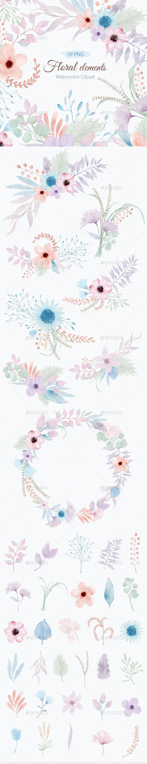 Floral Watercolor Illustrations Clipart PNG - Objects Illustrations