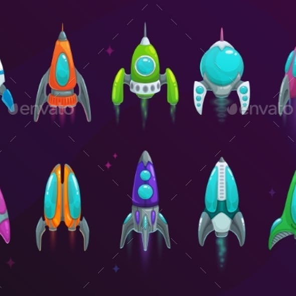 Cartoon Space Rockets Vector Space Ships Icons