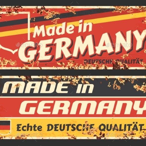 Made Germany Rusty Metal Signs German Flag