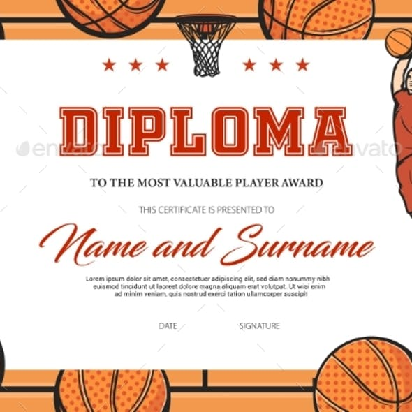 Certificate Basketball Most Valuable Player