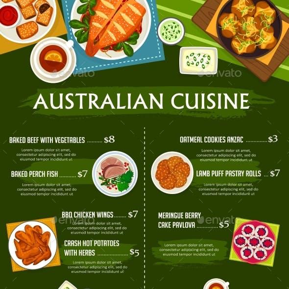 Australian Cuisine Vector Menu Template Meals