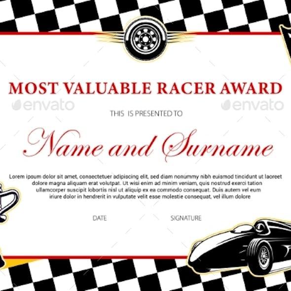 Car Racing Winner Certificate Races Diploma Award