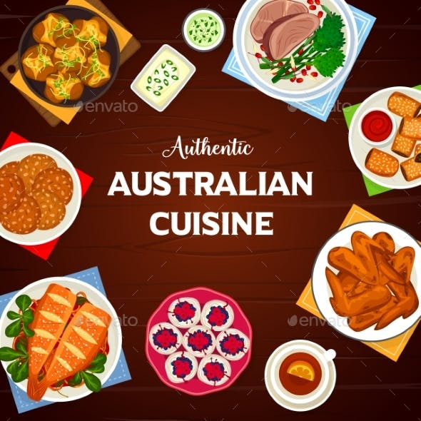 Australian Cuisine Vector Cartoon Poster Design