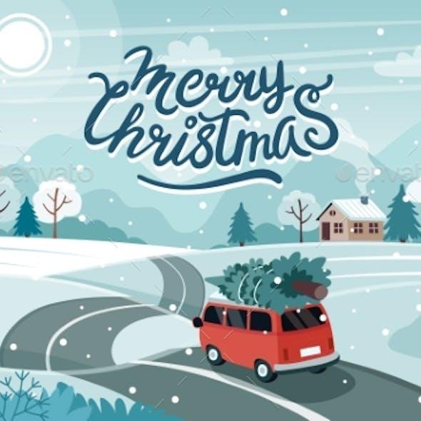 Car Christmas Tree Road