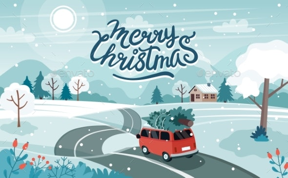 Car Christmas Tree Road - Miscellaneous Illustrations