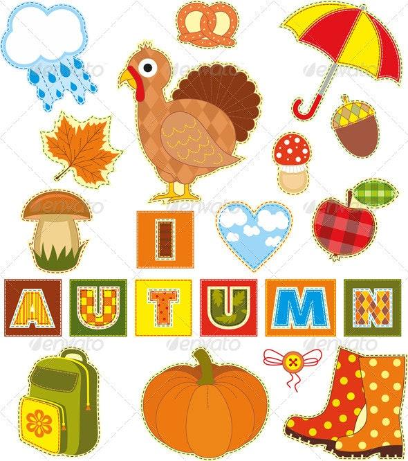 Autumn Set Textile Element - Objects Vectors