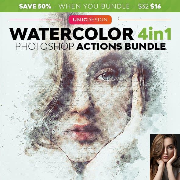 Watercolor 4in1 Photoshop Actions Bundle