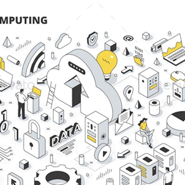 Cloud Computing Isometric Outline Illustration