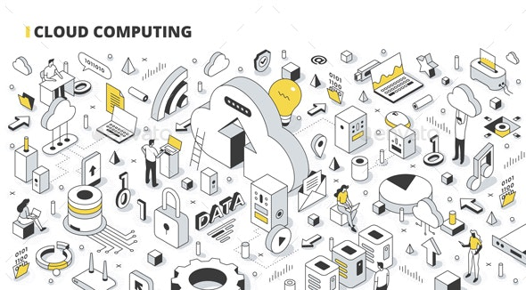 Cloud Computing Isometric Outline Illustration - Computers Technology