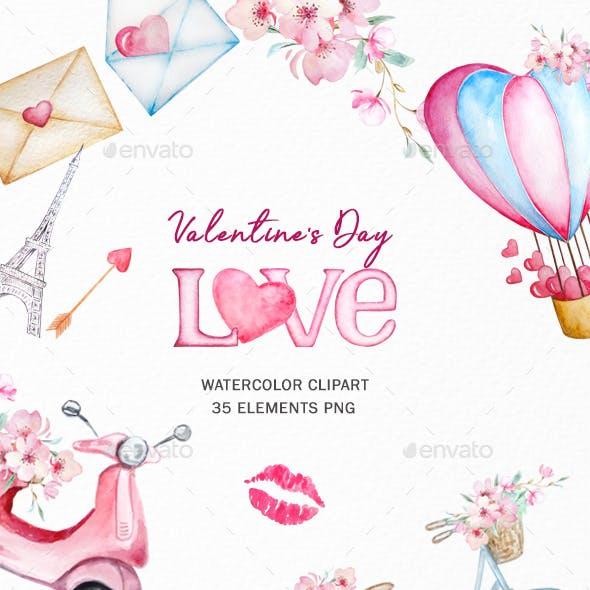 Watercolor Valentine's Day Clipart, Love Clipart
