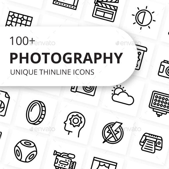 Photography and Post Production Unique Thin line Icons
