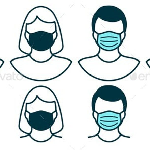 Man and Woman In Medical Face Mask For Virus