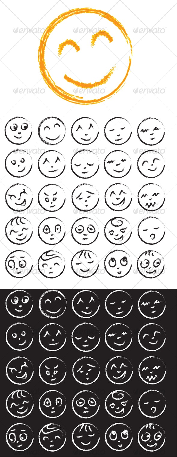Hand drawn Smiley Faces - Characters Vectors