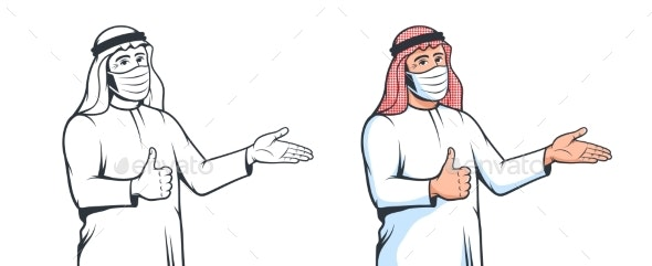Muslim Arabian Man in Medical Mask with Welcomes - People Characters