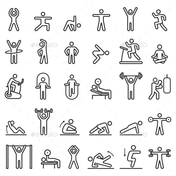 Fitness Exercise Workout Line Icons
