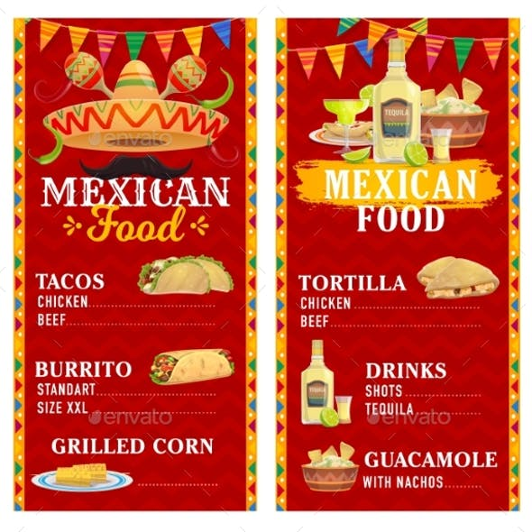 Mexican Restaurant Menu Template Food and Drink