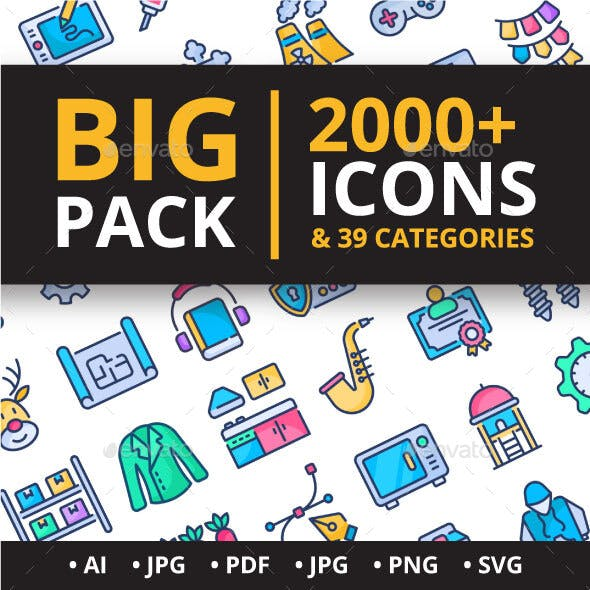 Big Pack 2000 Filled Colored icons