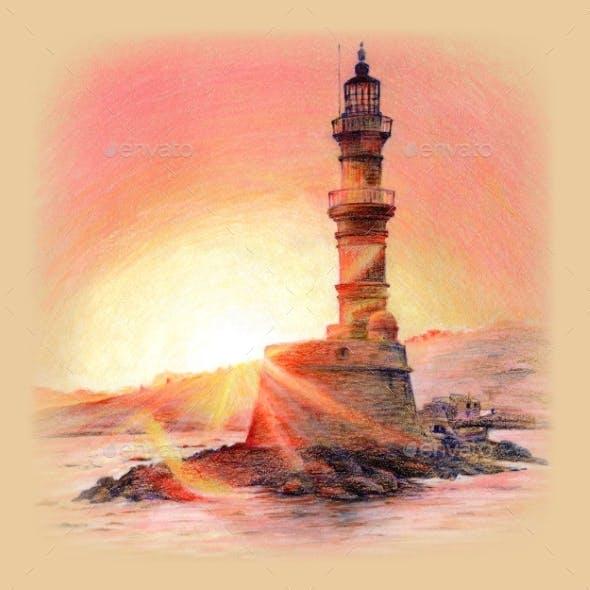Lighthouse at Sunset Chania Crete Greece