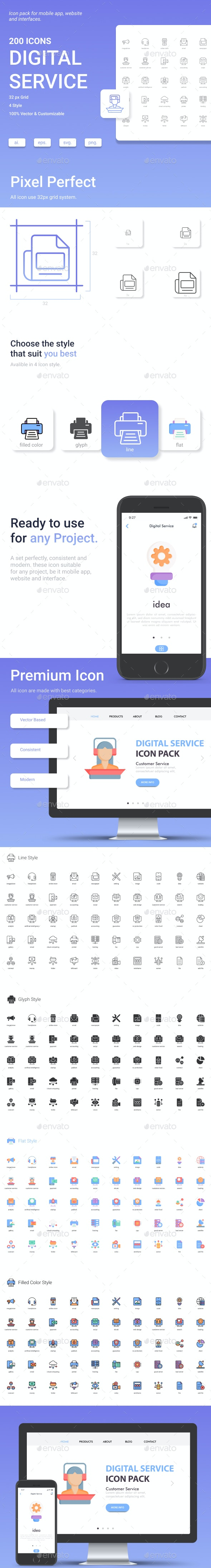 Digital Service Icon Set. - Business Icons