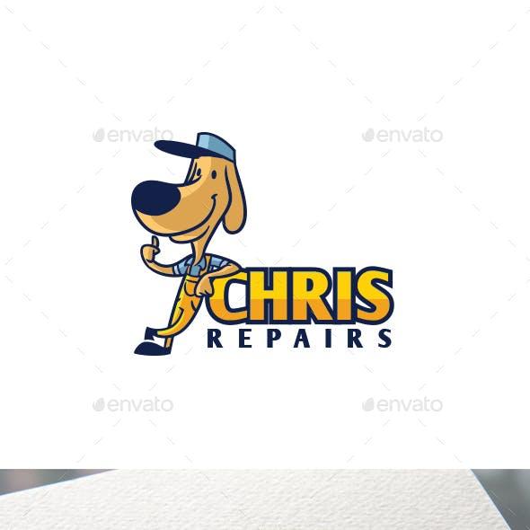 Retro Vintage Dog Handyman Mascot Logo