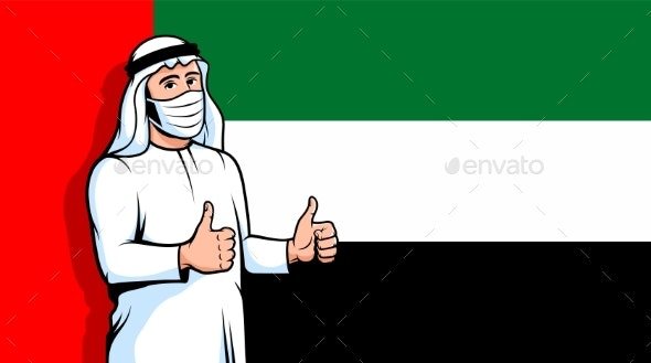 Arabic Man in Medical Mask Thumbs Up on United - Health/Medicine Conceptual
