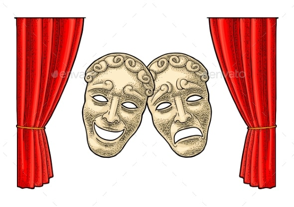 Comedy and Tragedy Theater Masks - Miscellaneous Vectors