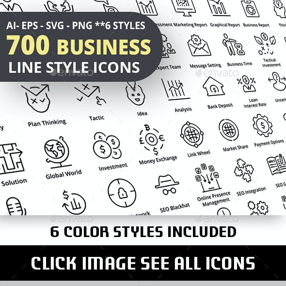 700 Business Outline Icons
