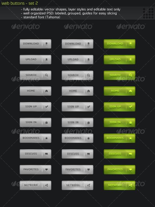 Web Buttons - Set 2 - Buttons Web Elements