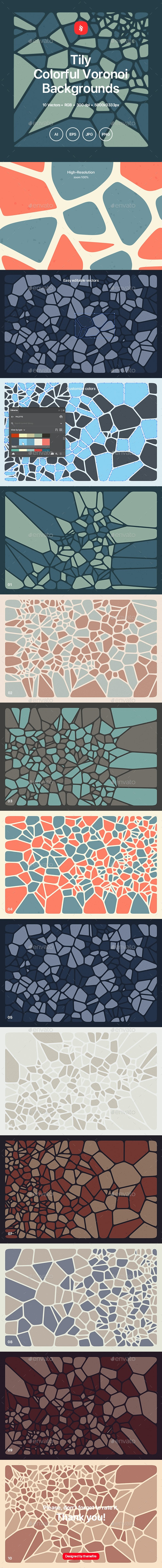 Tily - Colorful Voronoi Backgrounds - Patterns Backgrounds