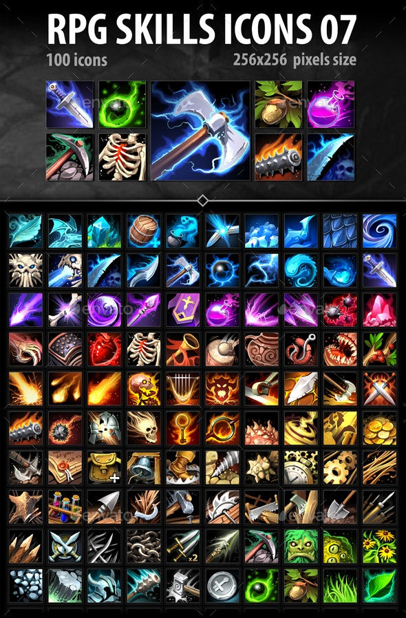 RPG Skills Icons 07 - Miscellaneous Game Assets