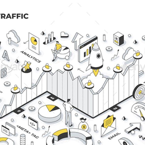 Website Traffic Isometric Illustration