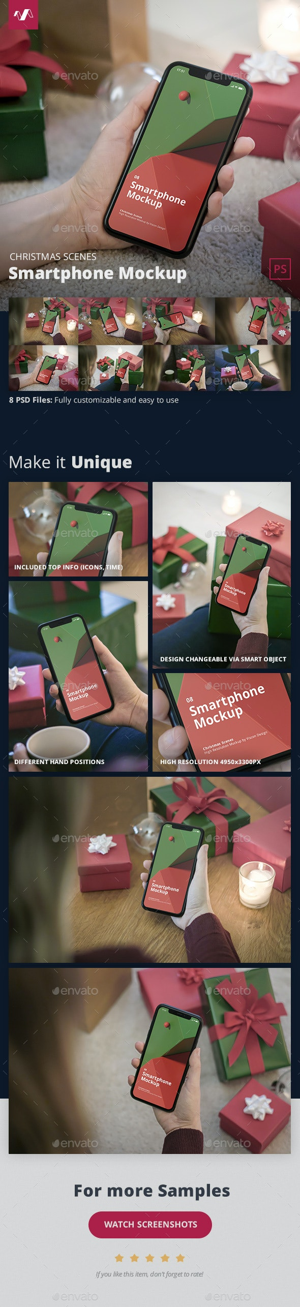 Phone Mockup Christmas Scenes - Mobile Displays