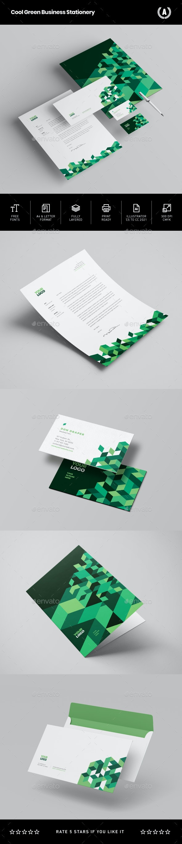 Cool Green Business Stationery - Stationery Print Templates
