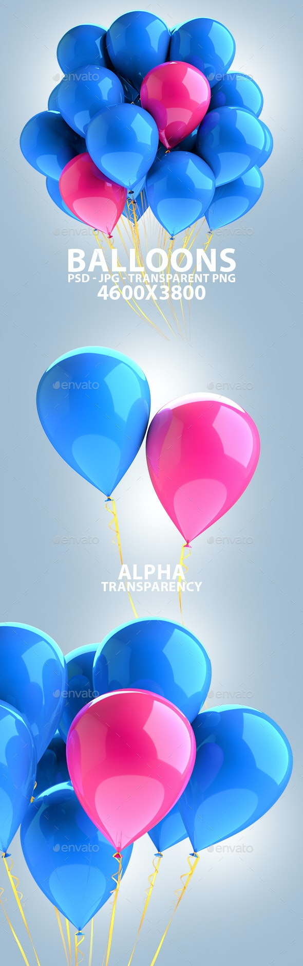 Balloons Isolated 3D Renders - Objects 3D Renders