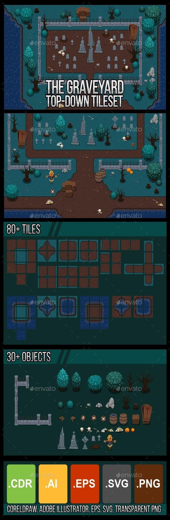 The Graveyard - Top Down Tileset - Tilesets Game Assets