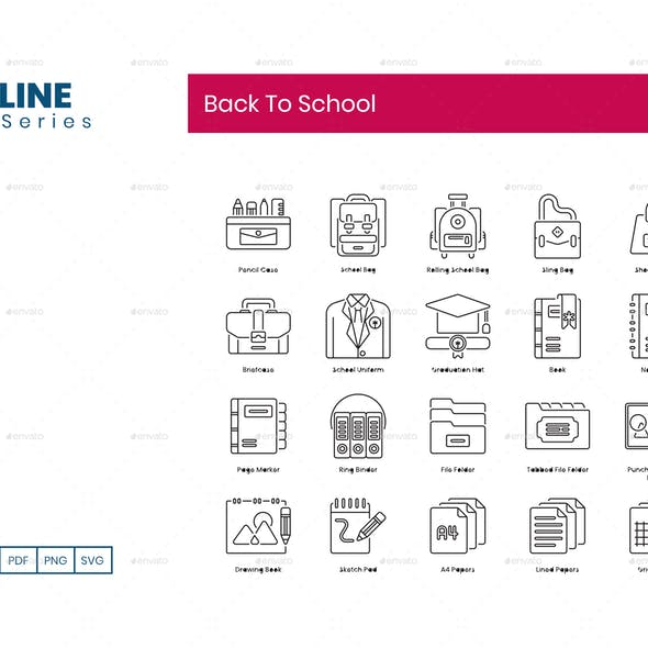 90 Back To School Icons | Dualine Series