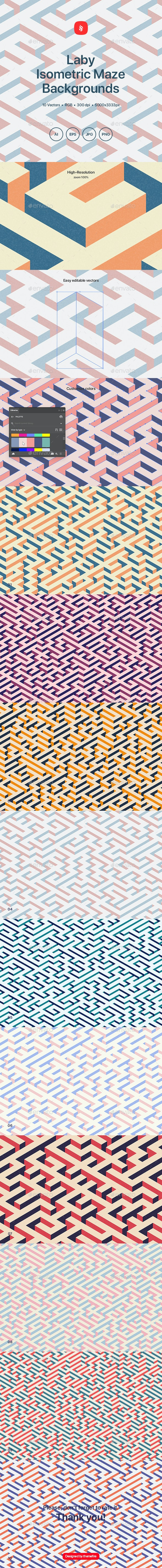 Laby - Isometric Maze Backgrounds - Patterns Backgrounds