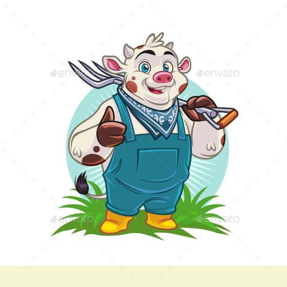 Cartoon Livestock - Cow Character Mascot Logo