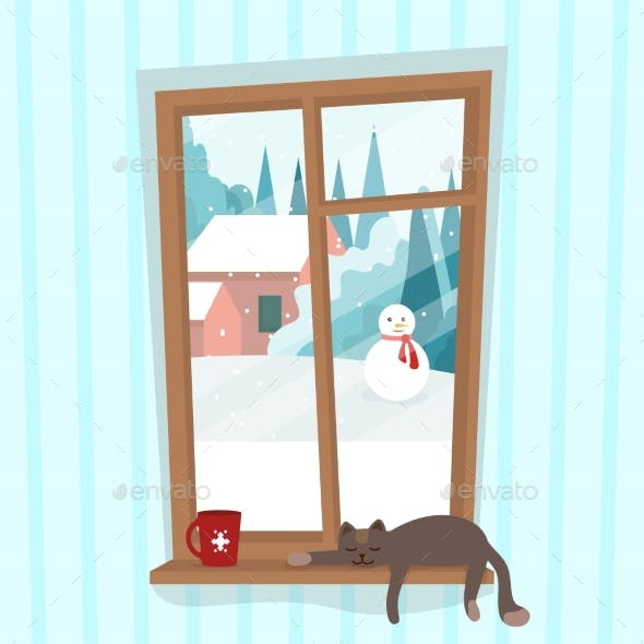 Window with Winter Landscape Outside with Snowman