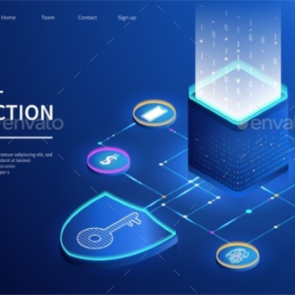 Isometric Vector Template of Digital Protection