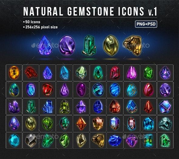 NATURAL GEMSTONE ICONS v.1 - User Interfaces Game Assets