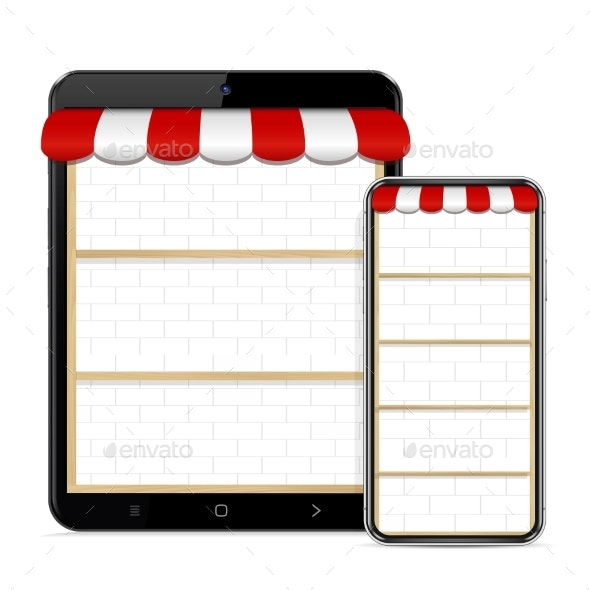 Online Store in Phone and Tablet PC Screen - Computers Technology