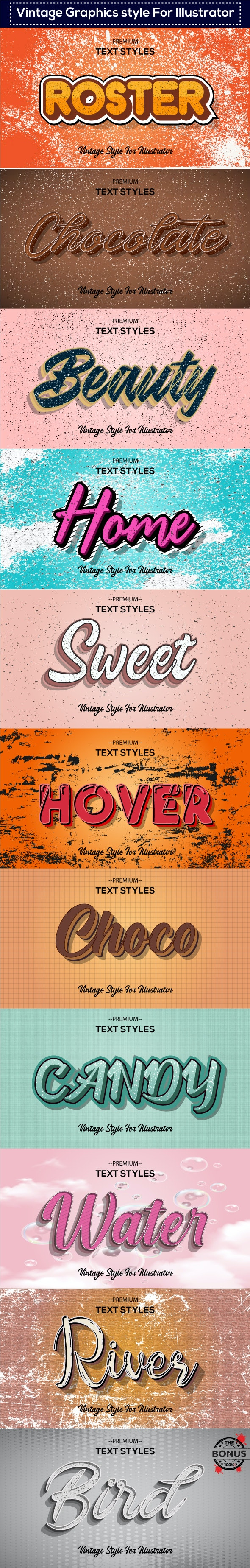 10 Different Vintage and Retro Graphic Styles for Adobe Illustrator - Styles Illustrator