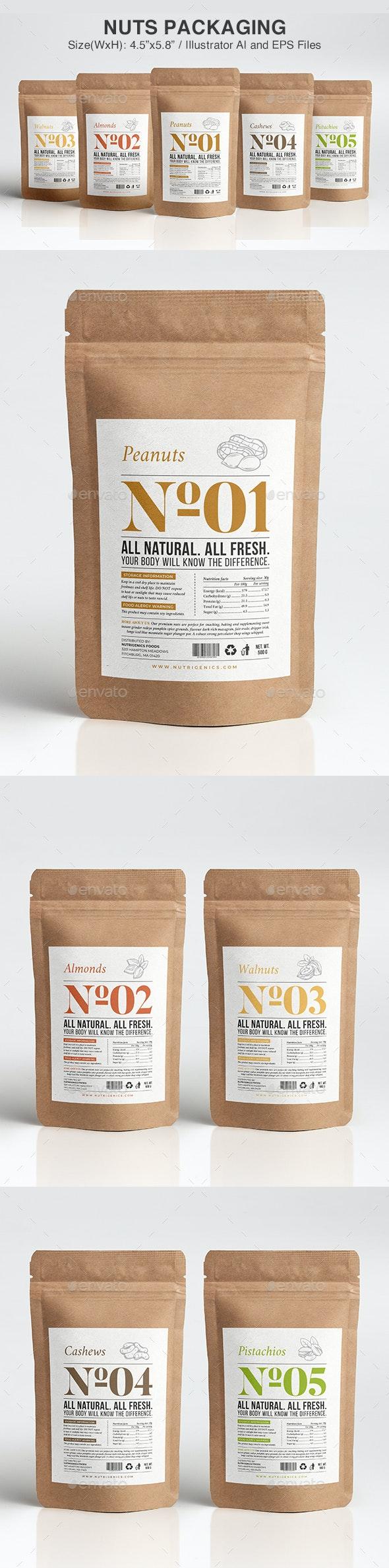 Nuts Packaging Template - Packaging Print Templates