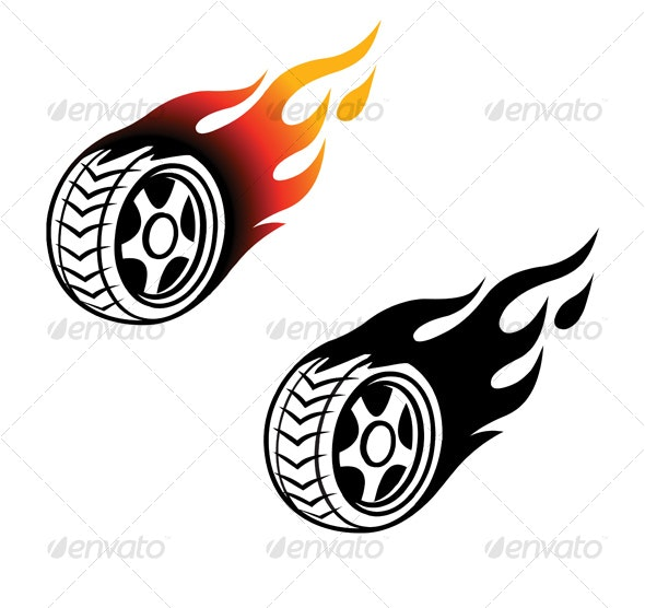Burning wheel - Tattoos Vectors