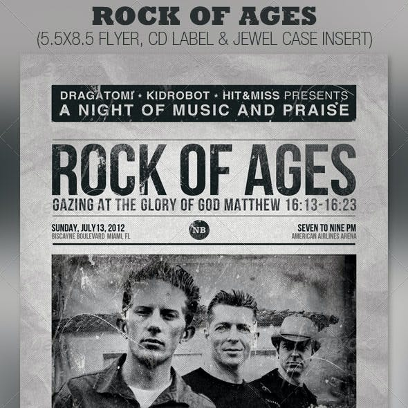 Rock of Ages Church Flyer and CD Template