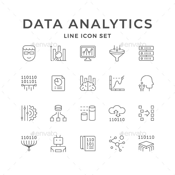 Set Line Icons of Data Analytics - Man-made objects Objects