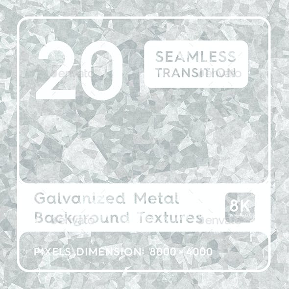20 Galvanized Metal Background Textures. Seamless Transition.