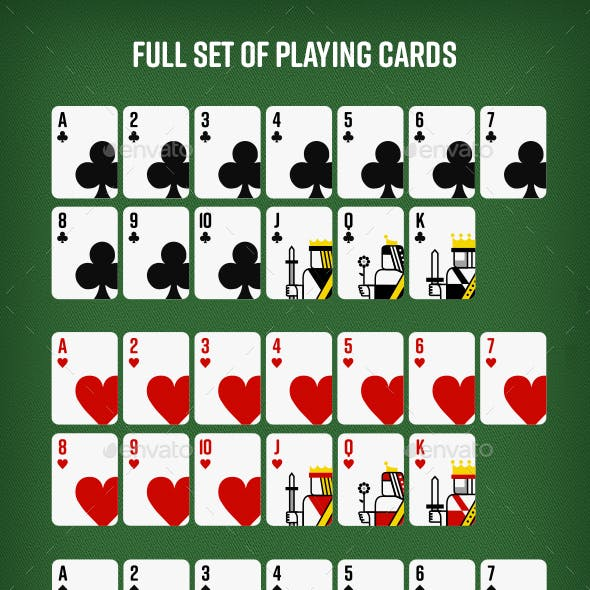 Set of 52 Playing Cards for Online and Mobile Gaming